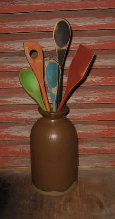 Primitive Wooden UTENSILS-Hand Painted-SPOONS-Wood Country Kitchen Decor-5 Pieces