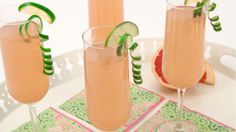 Pink Grapefruit Mimosa - Recipes - Best Recipes Ever - These variations of a mimosa - the traditional brunch cocktail - are fruity, fun ways to start brunch. Party Food And Drinks, Fun Drinks, Spicy Drinks, Beverages, Alcoholic Drinks, Refreshing Cocktails, Summer Drinks, Cranberry Mimosa, Cranberry Juice