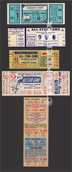 These tickets are printed on Matte photo paper. The backs of the tickets are white. College Football Tickets, Nfl Tickets, Baseball Tickets, 1960 World Series, National Games, Polo Grounds, Ny Mets, National League, Chicago Cubs