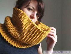 Как связать простой шарф-трубу спицами