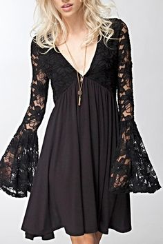 768adde136101 Plus Size Goth Lace Dress Sheer Stretchy V-Neck by KMKDesignsllc. See More.  Bell Sleeve Dress - main