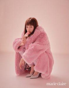 Weki Meki's Doyeon for Marie Claire Korea January Photographed by Kim Hee June Girls' Generation Taeyeon, Kim Doyeon, Pink Fox, Fox Fur Coat, Fur Coats, Fluffy Sweater, Fashion Cover, Korean Celebrities, Beauty Editorial
