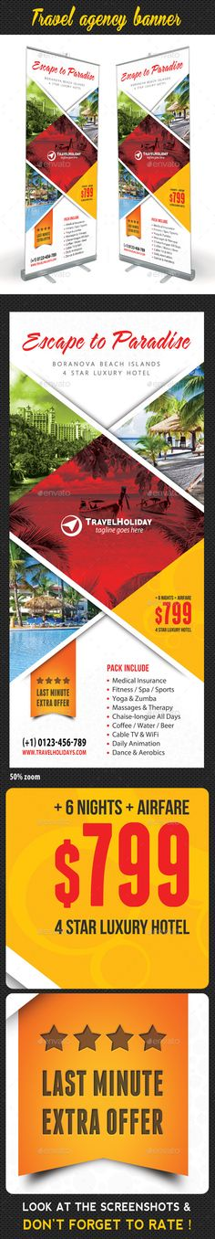 Buy Travel Agency Banner Template 10 by rapidgraf on GraphicRiver. Highly editable PSD Roll-Up Banner template, very easily customise to make it your own in seconds! The Pack included:. Signage Design, Banner Design, Flyer Design, Branding Design, Banner Template, Flyer Template, Rollup Design, Creative Flyers, Creative Ideas
