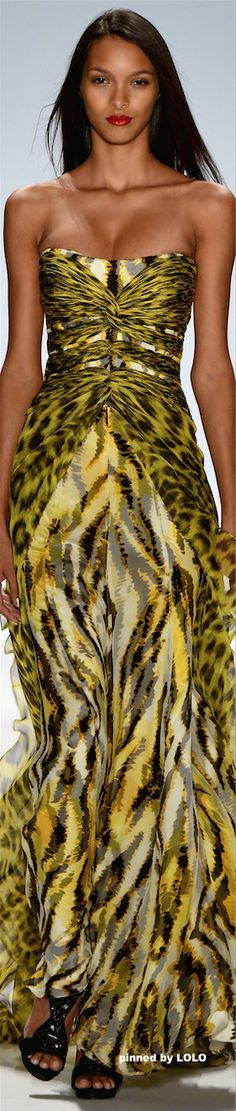 Carlos Miele Spring Summer Ready-To-Wear Collection yellow leopard dress_Gorgeous! Couture Mode, Style Couture, Couture Fashion, Runway Fashion, Womens Fashion, Fashion Week, Look Fashion, Fashion Show, Fashion Models