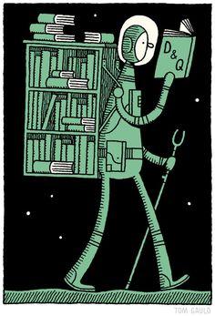 Reading … to infinity and beyond / Leyendo… hasta el infinito y más allá (ilustración de Tom Gauld)