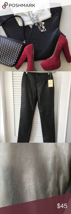 """Black Leather Pants Genuine black leather pants by Moda International.A definite closet staple for any Fashionista.Dress up or down.These have never been worn( still have the extra button envelope hanging on them)Inseam 31"""". Leg about 6 1/2 """" wide.waist 13"""".Side zip. These won't last long! Moda International Pants Straight Leg"""