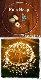 * Decoração e Invenção *: Luminária com Bambolê e Pisca-pisca