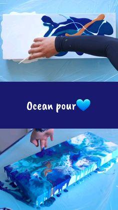 Video how to make an ocean acrylic pour. Video how to make an ocean acrylic pour. Acrylic Pouring Techniques, Acrylic Pouring Art, Acrylic Art, Flow Painting, Pour Painting, Abstract Ocean Painting, Fluid Acrylics, Diy Canvas Art, Resin Art