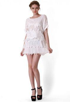 Crochet Lace Frill White Dress