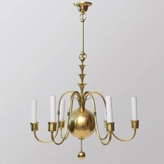 Scandinavian Modern Six-Arm Chandelier by Elis Bergh for C.G.Hallberg 3