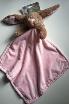 NWT Blankets & Beyond Luxorious Nunu Security Blanket Pink Brown Bunny Rabbit #BlanketsBeyond
