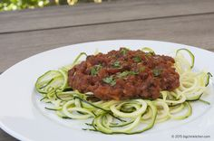 Kay's Meat Sauce with Zucchini Noodles - Free Paleo Recipes and More. Get the recipe at BigChinKitchen.com