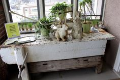 Old workbench serves as a holiday display
