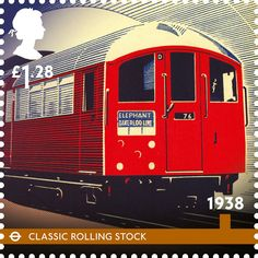 """Royal Mail commemorative stamp """"classic rolling stock"""" - the trains introduced on the Tube's deep cut lines in 1938 became a London icon. Royal Mail Stamps, Uk Stamps, Postage Stamps, London Underground Tube, London Icons, Tramway, Commemorative Stamps, Railway Posters, U Bahn"""
