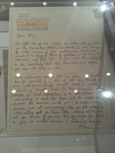 Lorelai's letter to Rory about Logan — on display at the warner brothers studio tour in Burbank California! I've always wanted to know what this letter said!!