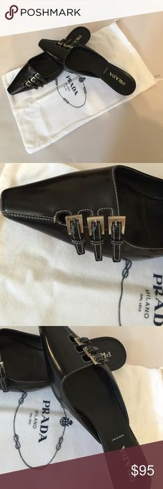 """PRADA leather mules Black patent leather, made in Italy, worn slightly, size37, heels 1.7"""", comes with dust bag, no box Prada Shoes Mules & Clogs"""