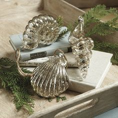 Part of our Nordic Seaside Holiday collection, these shimmering Glass Seashell Ornaments are an elegant way to bring a little touch of the sea home for the holidays. Designed of blown mercury glass, they're extra large and easy to see on the tree.