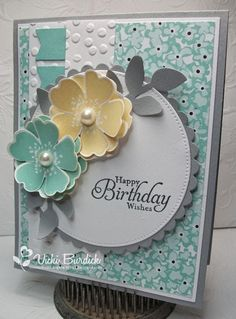 All supplies are Stampin' Up! Swallowtail embossed in white and colored with markers (Banana, Apricot, and Mustard). En Francais background stamp in Crumb Cake. Button and white twine to embellish. Sentiment from Sweet Centers. It's a Stamp Thing: Happy Birthday Wishes with the last Dynamic Duos Challenge