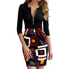 Stylish Round Neck 3/4 Sleeve Printed Spliced Dress For Women black http://www.irockbags.com/stylish-round-neck-34-sleeve-printed-spliced-dress-for-women-black