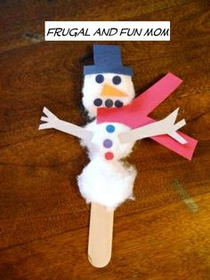 Snowman Craft made with Cotton Balls