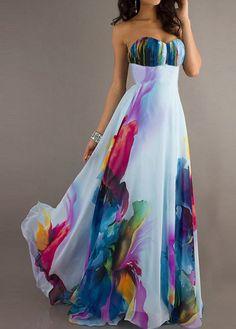 Open Back Printed High Waist Maxi Dress