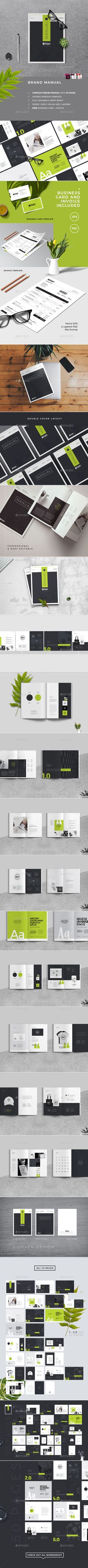 Brand Manual Template InDesign INDD - 50 Pages Professional Fully Editable