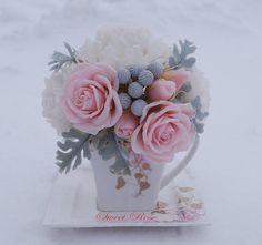 """Bouquet """"Peony cloud"""" Cold porcelain flowers Home decor Flower arrangement Artificial bouquet White faux flower Bouquet of peonies and roses"""