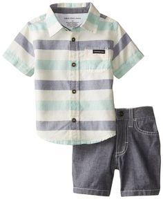 Amazon.com: Calvin Klein Baby Boys' Stripes Shirt with Denim Shorts: Clothing