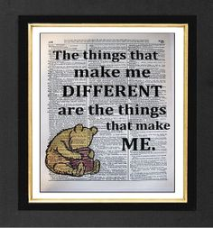 Different -Winnie The Pooh -ORIGINAL ARTWORK Mixed Media art print on 8x10 Vintage Dictionary page, Dictionary art, Dictionary print on Etsy, $10.00