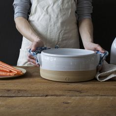 """This stoneware baker makes oven to table easy and beautiful. Your best casserole is waiting to happen with this handmade piece! medium: 7.75"""" x 4.25"""" large: 9.5"""