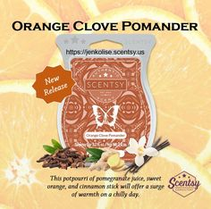 New Release Fall/Winter 2017  Check out my website at https://jenkolise.scentsy.us and like my FB page at https://www.facebook.com/WicklessJenKolise  #Scentsy #orange #vanilla #clove #ginger #fall #newrelease