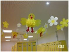 Spring decoration of children changeroom in swimming pool.