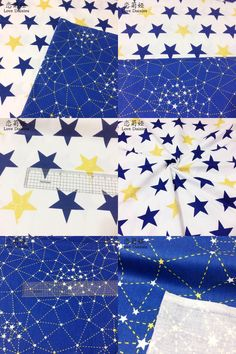[Visit to Buy] 100% cotton nordic wind blue stars constellation twill cloth DIY for kids bedding tent clothes dress handwork patchwork fabric #Advertisement