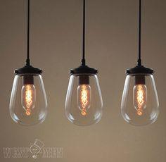 glass globe pendan light modern kitchen by AugustRushLights