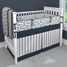 Gray Embrace with Navy Custom 4-piece Crib Bedding Set | Gray Embrace with Navy Nursery Idea | Carousel Designs