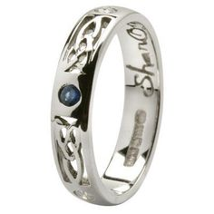 Ladies 4mm 14ct White Gold Pressure set Sapphire & .15ct Diamonds set Celtic Love Knot Wedding Ring