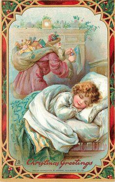 CHRISTMAS GREETINGS purple robed Santa stuffs stocking behind sleeping chid