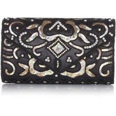 Vintage Inspired Black Gold Elsa Wedding clutch purse bag Hand... ($50) ❤ liked on Polyvore featuring bags, handbags, clutches, gold evening clutches, bridal clutches, gold clutches, vintage handbags and prom clutches