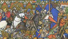 """Schlachtszene aus der Eroberung der Stadt """"Ai"""" mit schwerbewaffneten Rittern"""
