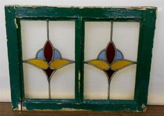 """OLD ENGLISH LEADED STAINED GLASS WINDOW Duel Pane Floral design 21.5"""" x 16.5"""""""
