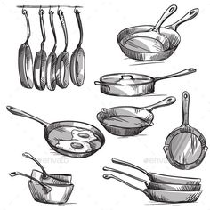 Set of frying pans vector sketch by kamenuka on VectorStock® – Kitchen Utensils Ideas Drawing Sketches, Pencil Drawings, Cooking Tattoo, Back Drawing, Kitchen Pans, Food Sketch, Object Drawing, Industrial Design Sketch, Line Work Tattoo
