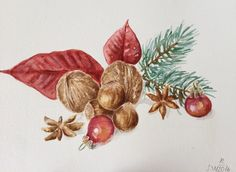 A personal favorite from my Etsy shop https://www.etsy.com/listing/501750887/christmas-watercolor-paintingred-leaves