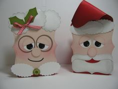 """Santa and Mrs Claus Gift box - Top Note BigZ die, 3/4"""" Circle, 1"""" Circle, 1-3/8"""" Circle, 1-1/4"""" Scallop Circle & Scallop Oval punches"""