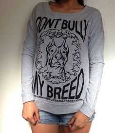 """Ladies """"DONT BULLY MY BREED"""" Scoop Long-Sleeve ➜MORE COLORS"""