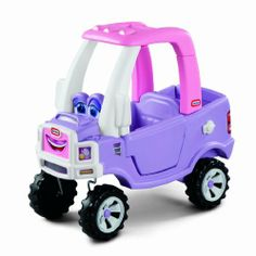 Little Tikes Princess Cozy Truck Ride-On by Little Tikes. $122.49. Distinctive truck styling with a realistic front grill. Includes flatbed with a drop-down tailgate, rugged ?off-road? wheels, an opening gas cap, and a steering wheel with a working electronic horn. Fun graphics, and dash, tail and headlight decals. Opening and closing driver's door. From the Manufacturer                This pink and purple ride-on toy truck is just right for toddler girls. The foot-to-floo...