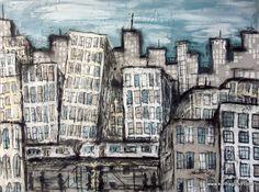 Cityscape, travel art, painting
