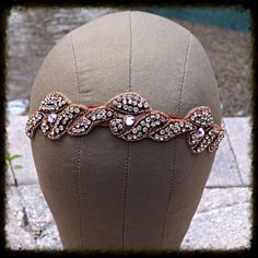 Rose Gold Crystal Headband Dancer Bride Hair by glamourpusscouture, $38.00