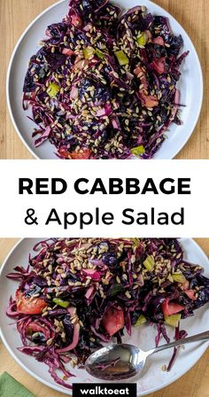 Healthy red cabbage and apple salad recipe. Roasted and raw cabbage topped with lemon mustard vinaigrette make this a flavorful vegan side dish! Raw Cabbage Recipe, Vegan Cabbage Recipes, Apple Salad Recipes, Raw Vegan Recipes, Easy Salad Recipes, Vegan Foods, Vegan Raw, Roasted Red Cabbage, Red Cabbage Salad