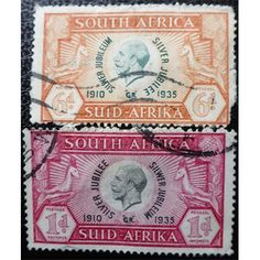 South Africa, KG V, Silver Jubilee, 1935 set of 2 stamps used