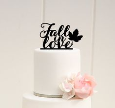 Fall in Love Wedding Cake Topper Fall Autumn by ThePinkOwlGifts